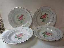 4 Gibson Housewares China VICTORIAN ROSE 8 inch Rimmed Soup BowlsPink Rose Gold