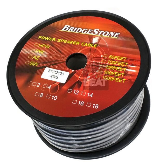 Bulk Roll 100 ft 12-Gauge GA 4-Conductor Core Snake Speaker Audio Cable Wire