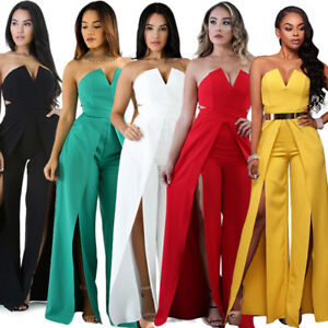 Sexy Women Party Dress Jumpsuit Clubwear Strapless V Neck Romper