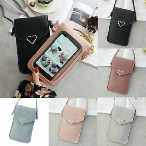 Women-Outdoor-Heart-shaped-Decorative-Crossbody-Bag-Mobile-Phone-Screen