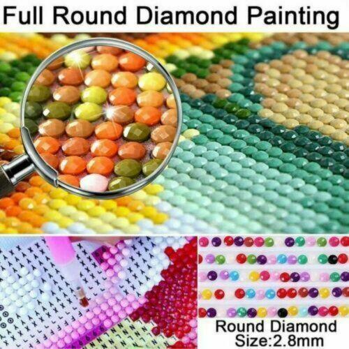 Round Drill 5D Diamond-Painting Embroidery Purple Tree Cross Stitch Handmade