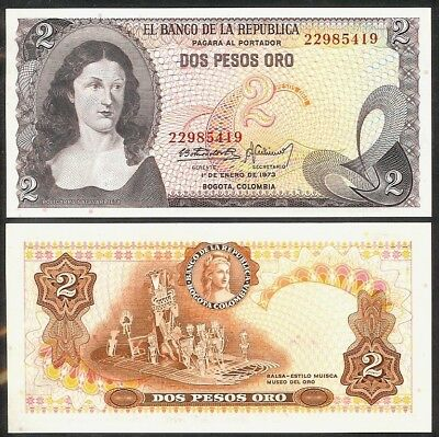 COLOMBIA 100 Pesos Oro 1973 P-415 UNC Uncirculated