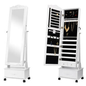Movable-Jewelry-Cabinet-W-Full-Length-Mirror-Standing-Jewelry-Armoire-Organizer