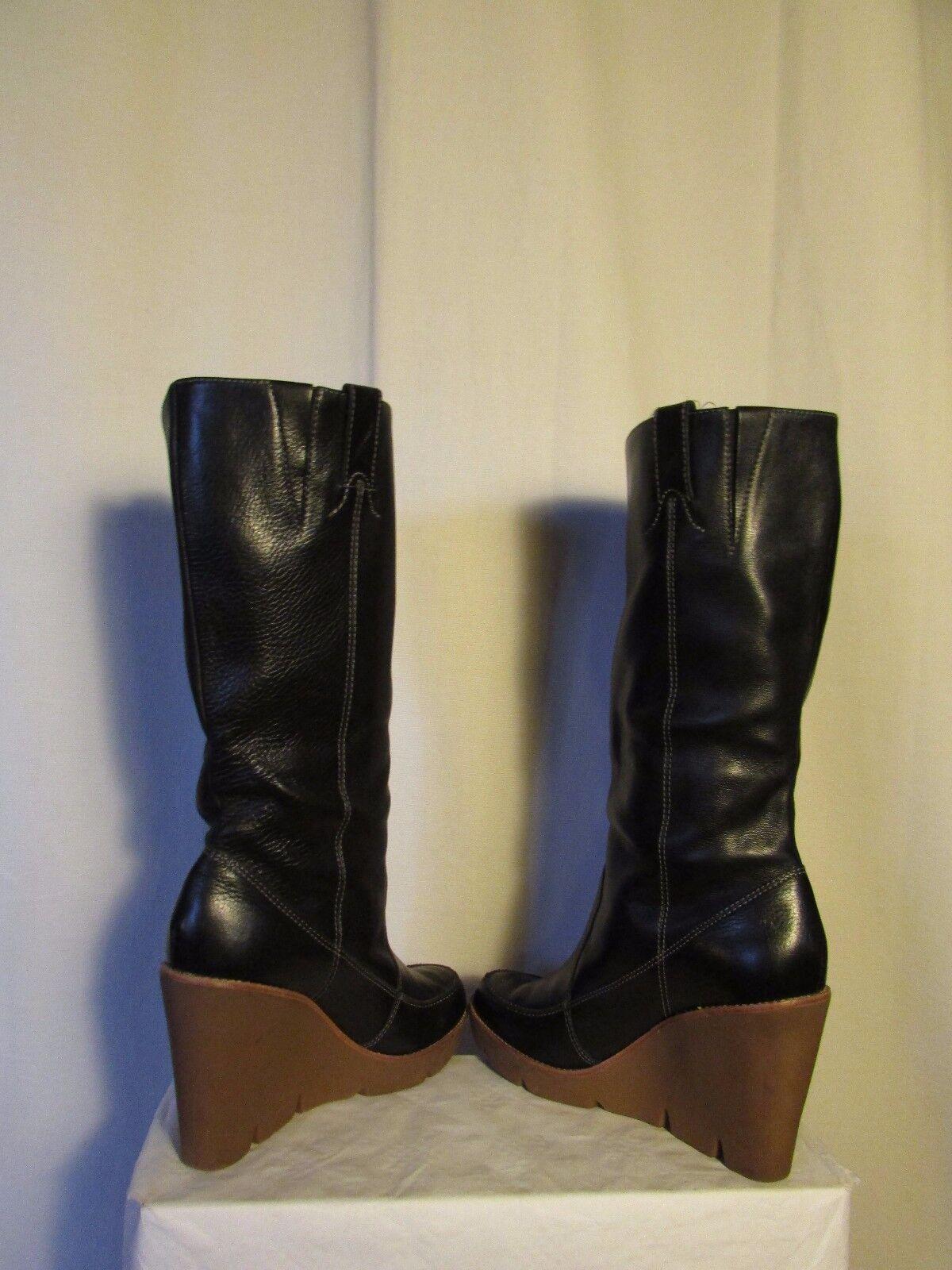 Stiefel Leder Keil Mickael kors schwarzes Leder Stiefel Größe 9W 53f2e5
