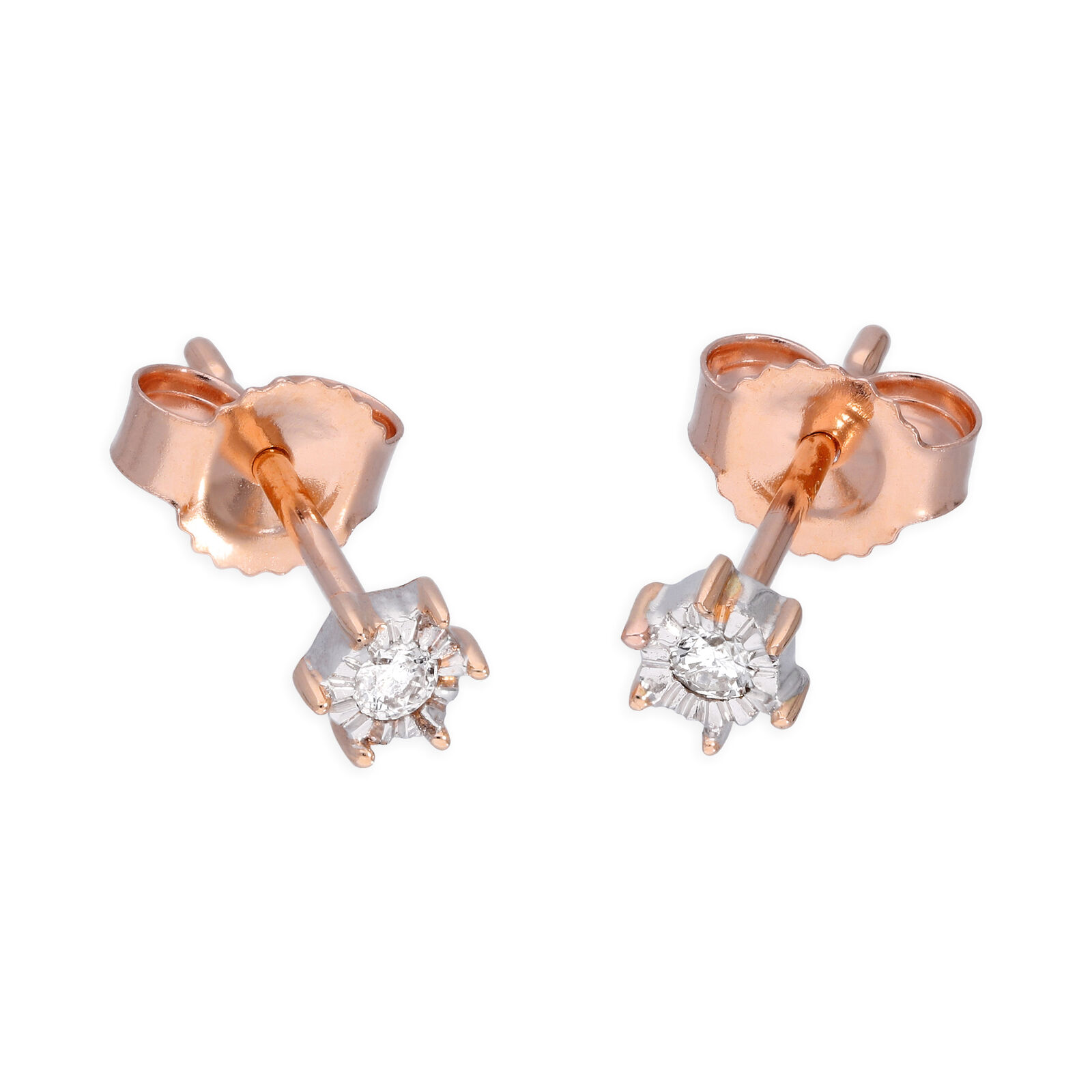 9ct pink gold 0.05ct Diamond Illusion Set Round Solitaire Stud Earrings