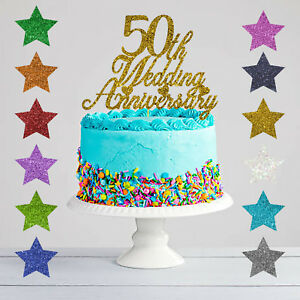 50th Wedding Anniversary Cakes.Details About 50th Wedding Anniversary Cake Topper Glitter Golden Anniversary
