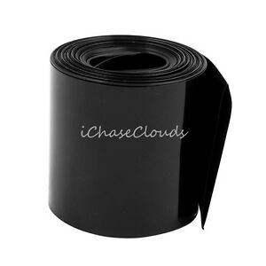 55mm Flat Width 1M 3FT Length PVC Heat Shrink Tube Black for 18650 Battery Pack