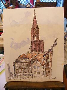 Aquarelle-Strasbourg-Grande-Boucherie-Andre-Simon-1926-2014-1988-Artiste-Lorrain