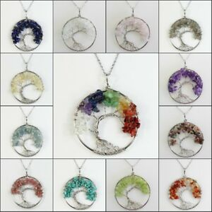 Natural-Gemstones-Chips-Beads-Tree-of-Life-Reiki-Chakra-Silver-Pendant-Necklace