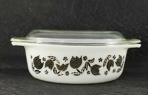 Vintage Pyrex 043 1 2 Qt Black Tulip Oval Casserole Baking Dish With Clear Ebay
