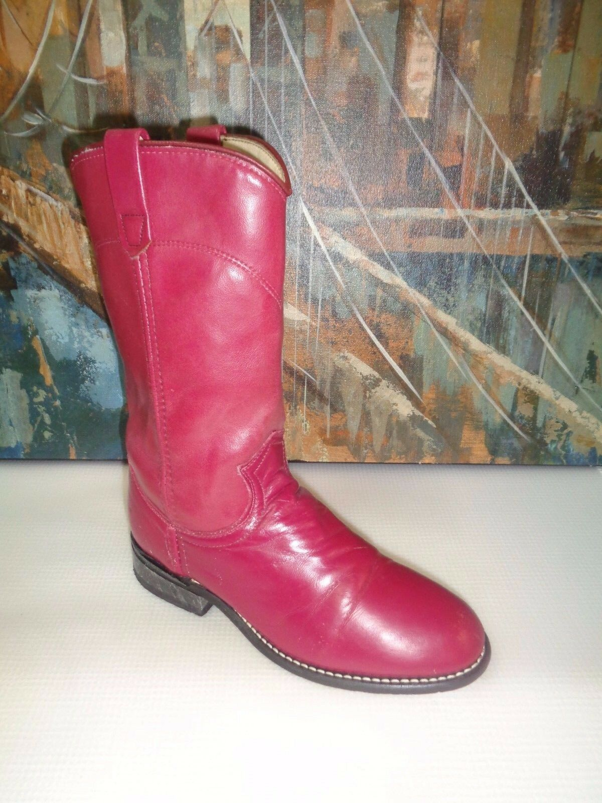 Acme Burgundy Leather Western Boots sz  5M