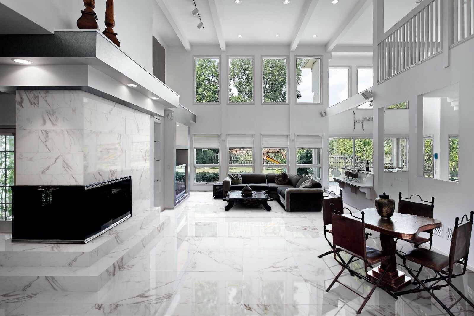 TILES JOBLOT 83: 83: 83: Braun & Weiß marble look polished porcelain tiles 60x60 30m2 981c86
