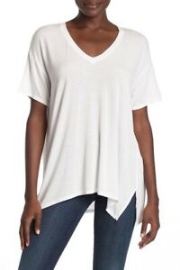 Michael-Stars-V-Neck-High-Low-Tee-Shirt-White-Size-OS-New-one-size