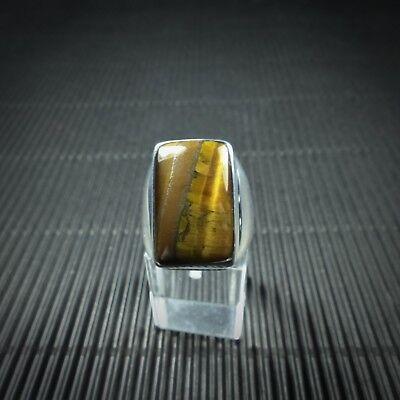 Unter Der Voraussetzung Ring Gr. 59, Silber 925, Mit Einem Tigerauge Cabochon Aus Indien Durchsichtig In Sicht