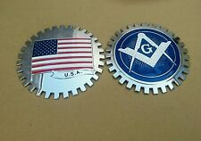 2x Masonic & US United States Flag Car Grill Emblems USA Badges  Lot of 2
