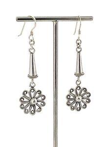Ornate-Filigree-Flower-Sterling-Silver-Dangling-French-Wire-Earrings-Vintage
