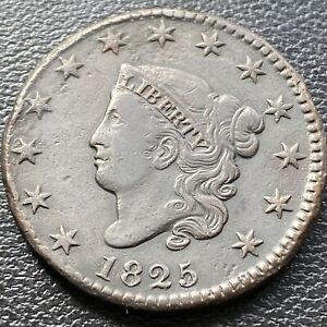 1825 Large Cent Coronet Head One Cent 1c High Grade XF - AU #28992