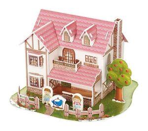 Puzzle-3D-tridimensionale-034-Uccello-blu-034-che-io-chiamo-034-Casa-rosa-034-cm-16x15x11