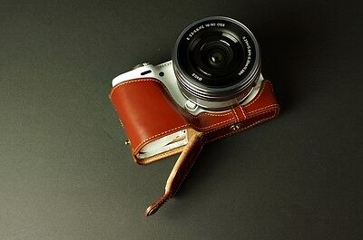 Genuine real Leather Half Camera Case bag cover for Sony NEX5T NEX5R Bottom Open