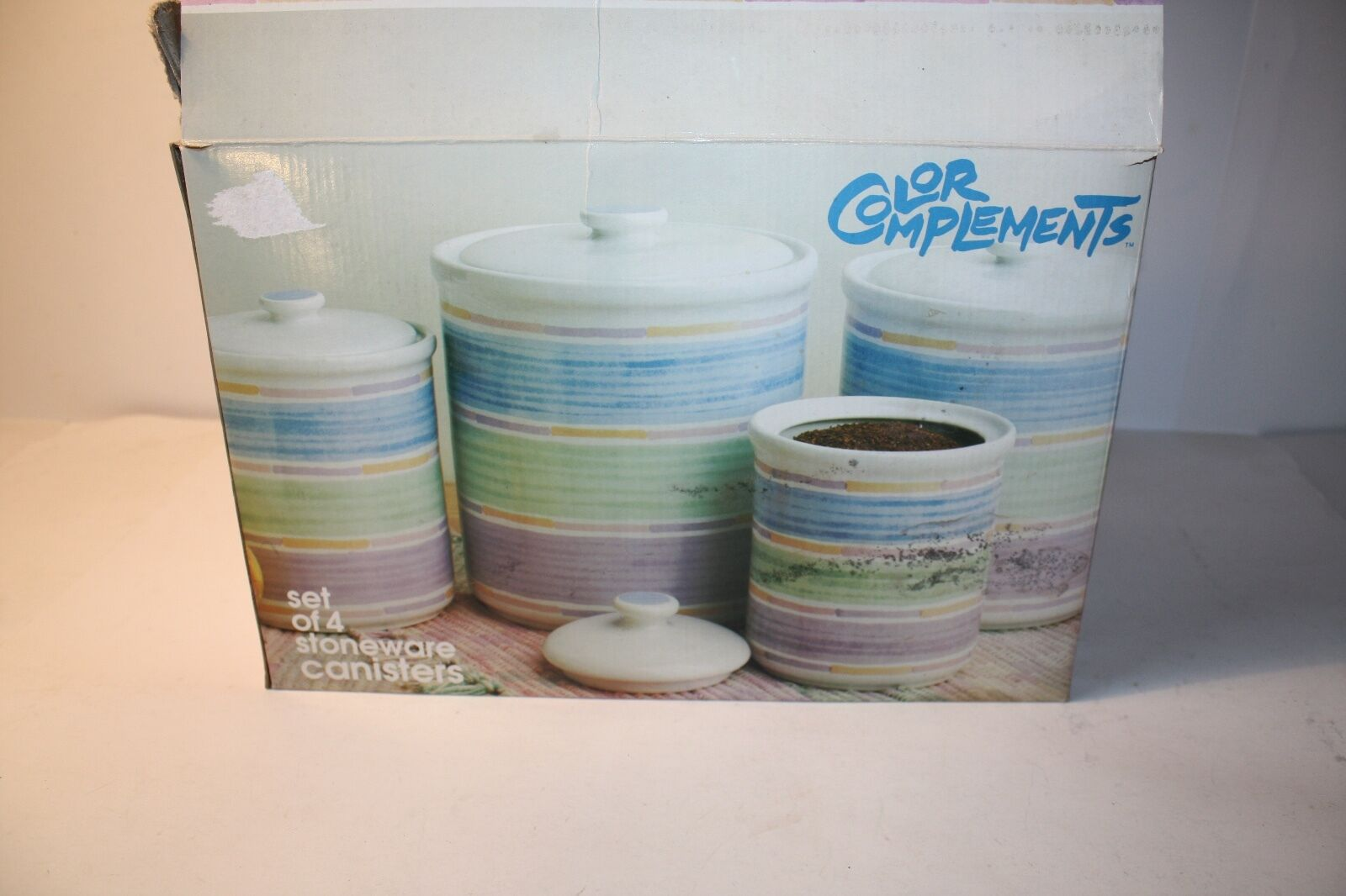 Paul Marshall 4-Piece Stoneware Canister Set color Complements w  lids EUC