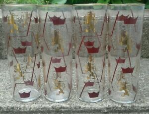 4 RARE CORNING CORNET ZOMBIE DRINKING GLASSES PYREX BARWARE LION  GOLD USA