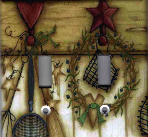 Country Kitchen With Barn Star And Heart Home Decor Double Light Switch Plate Other
