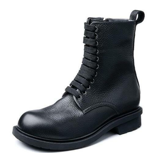 Mens Real Cow Leather Biker Ankle Boots Shoes Zip Business Formal Cowboy Work L