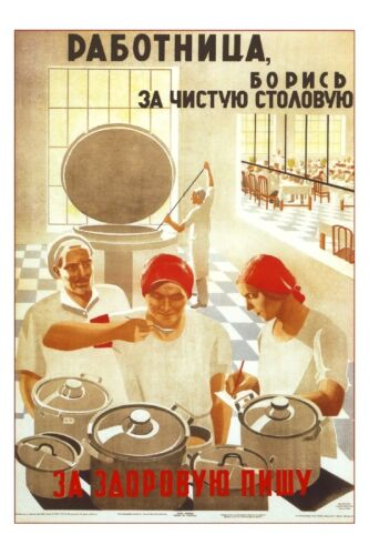 Worker strive-fight for clean kitchen Soviet Propaganda Poster USSR Russian 1931