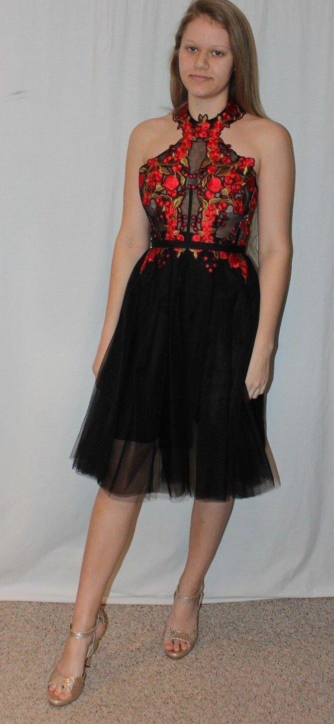 Vestido Corto nuevo  con etiquetas Tony Bowls TS21614 Negro Rojo Talla 4 Formal para Baile de graduación de regreso a casa  Mejor precio