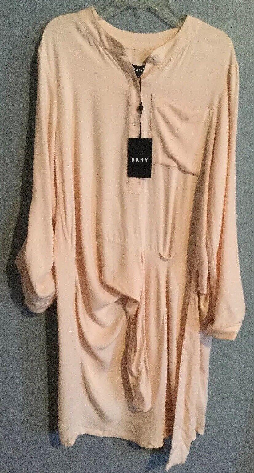 3f14b21b09f DKNY Womens Side Tie Roll Tab Shirt Dress P7kb8169 Size Small Light ...