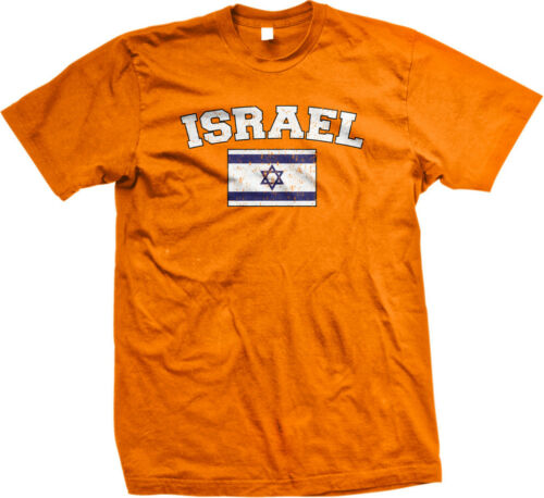 Israel Faded Distressed Flag Jewish Hebrew Country Pride Mens T-shirt