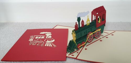 Birthday, Get Well, Thank you, Congrats or All Occassions 3D Pop Up Train Card.