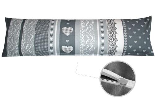 Baumwoll Renforcé Seitenschläferkissen Bezug 40x145cm Herzen Streifen B-Ware