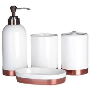 Delta-White-Copper-Basin-Lotion-Dispenser-Tumbler-Holder-Soap-Dish-Accesories