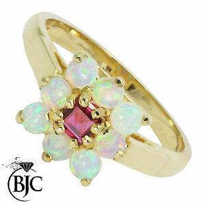 BJC-9ct-Yellow-gold-Ruby-amp-Opal-cluster-size-M-engagement-dress-ring-R9