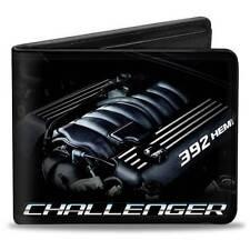 Men Wallet Bifold Black Dodge Challenger SRT Bold 392 HEMI Engine Logo Genuine