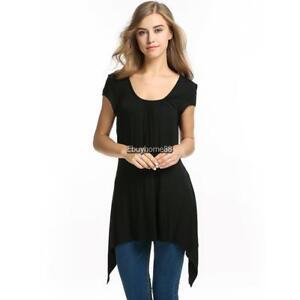 Meaneor-Womens-Short-Sleeve-Scoop-Neck-Handkerchief-Hem-Tunic-Top-EHE8-02