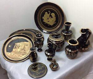 Handmade-Vintage-Set-of-Black-Ceramic-Greek-Tableware-with-24K-Gold
