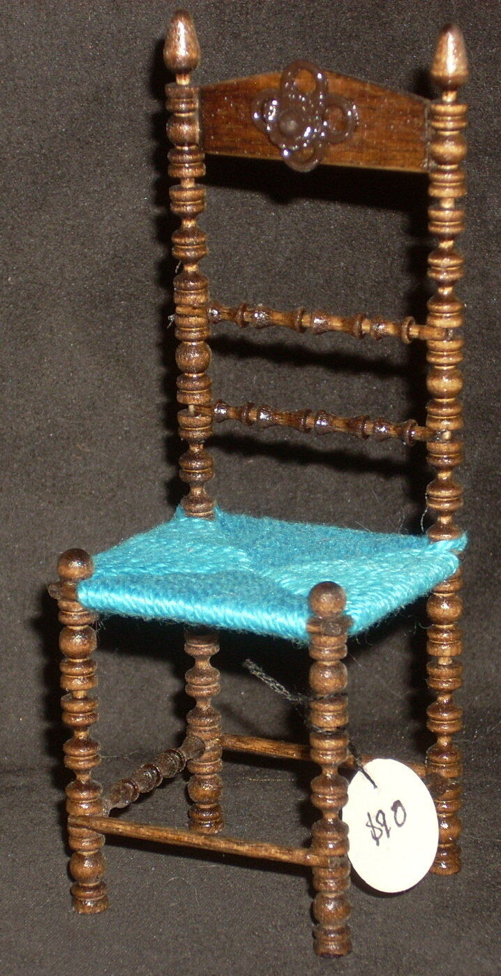 Dollhouse Miniature Dudley Mexican Hacienda Chair Turquoise Seat 1:12  2516