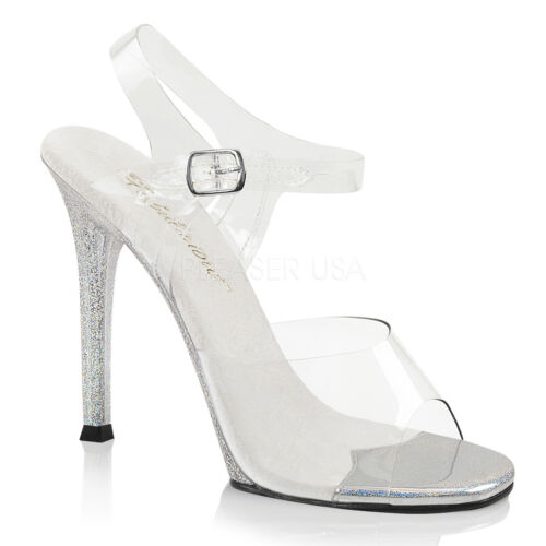 """4/"""" Clear Silver Bikini Model Contest Fitness Pageant Official Competition Heels"""