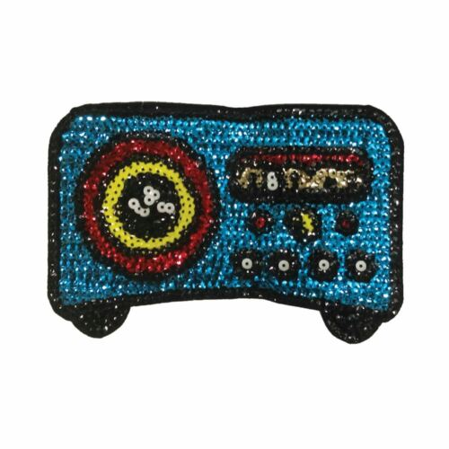Blue Sequin Stereo Radio Iron On Embroidery Applique Patch Sew Iron Badge