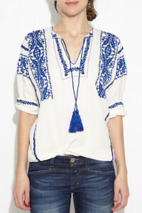862df28f38be1f Etoile Isabel Marant Vinny Vince White & Blue Embroidered Top Blouse ...