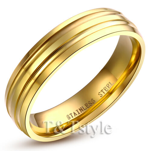 TTstyle 6mm Stainless Steel Comfort Engagement Wedding Band Ring Mens & Womens