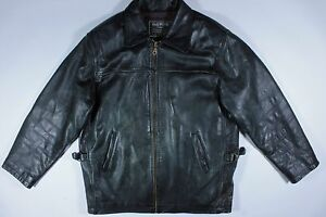 Vintage Style Oakwood Classic Motorcycle Biker Black Leather Jacket