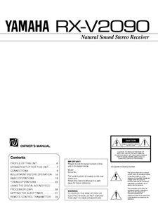 yamaha rx v2090 receiver owners manual ebay. Black Bedroom Furniture Sets. Home Design Ideas