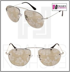 6e0cf36e13a45 Image is loading PRADA-TEDDY-PR58OS-Aviator-Silver-Gold-Hibiscus-Mirrored-