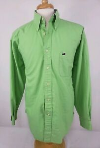 Vintage-Men-039-s-TOMMY-HILFIGER-Double-Button-Green-Button-Down-Shirt-Size-XL-EUC