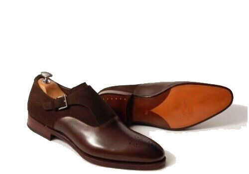 Mens Handmade shoes Suede Cow Leather Monk Brown Brogue Toe Formal Dress Oxford