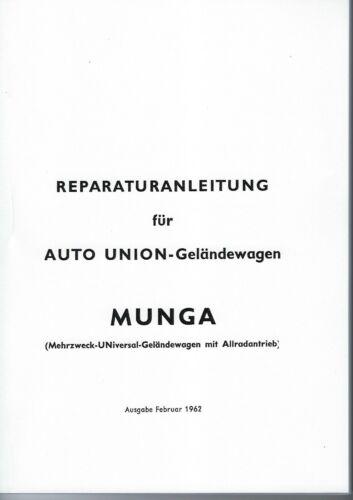 Istruzioni di riparazione//Officina Manuale MUNGA esercito tedesco DKW//Auto Union NUOVO