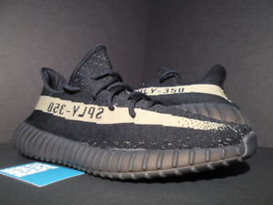 be43b0f37b4 ADIDAS YEEZY BOOST 350 V2 KANYE WEST CORE BLACK GREEN STRIPE OLIVE ...